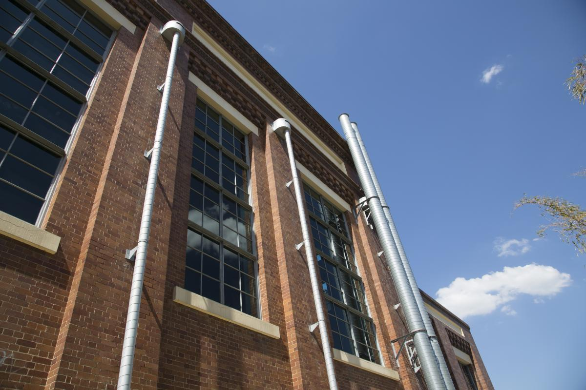 This is an image of the windows of New Farm Powerhouse