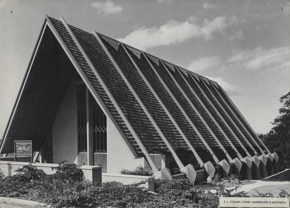This is an image of 'Memorial Church of our Lady of Mount Carmel at Coorparoo, Queensland 1965', viewed from Cavendish Road, Coorparoo, looking north-east.