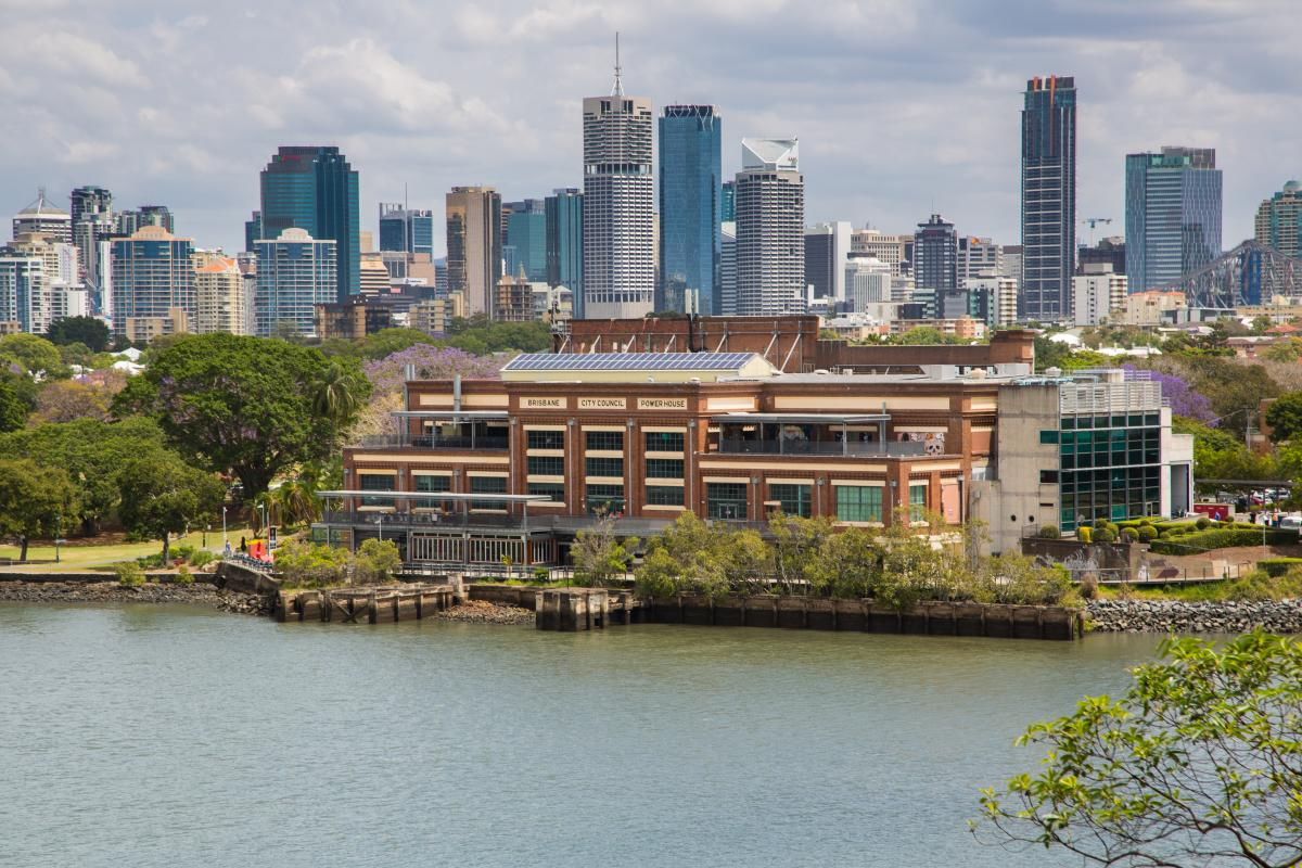 This is an image of the New Farm Powerhouse from Bulimba across the Brisbane River
