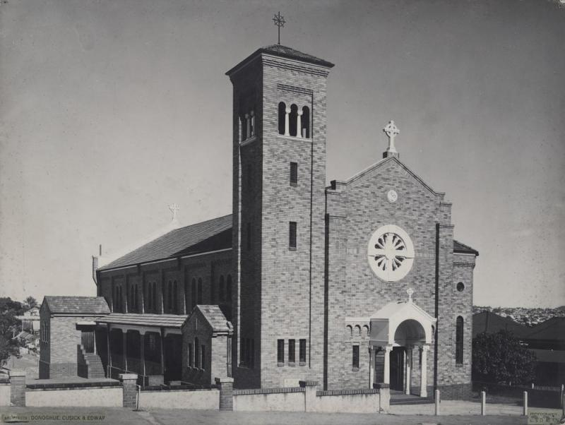 This is an image of 'Roman Catholic Church in Leopard Street, Kangaroo Point, Queensland', c.1955-1975, viewed from the corner of Leopard and Wild streets, Kangaroo Point, looking south-east.